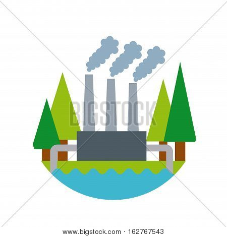 factory plant and trees icon over white background. colorful design. vector illustration