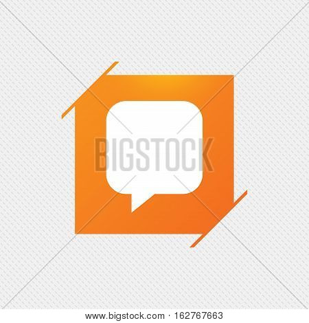 Chat sign icon. Speech bubble symbol. Communication chat bubbles. Orange square label on pattern. Vector