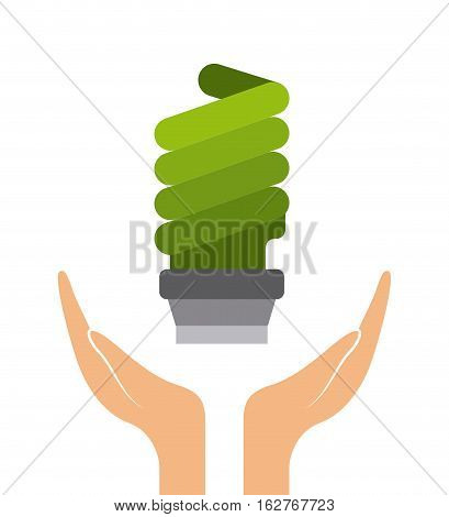 hands with green bulb light icon over white background. colorful design. vector illustration