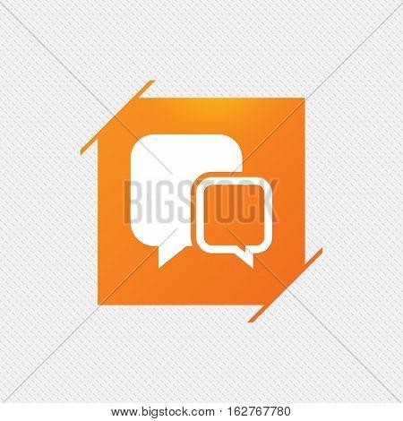 Chat sign icon. Speech bubbles symbol. Communication chat bubbles. Orange square label on pattern. Vector