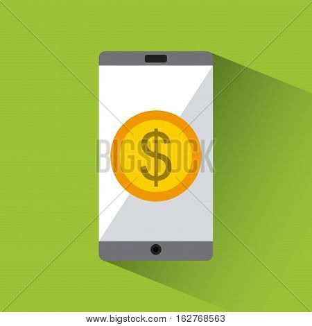 smartphone device with gold coin icon over green background. colorful design. vector illustration