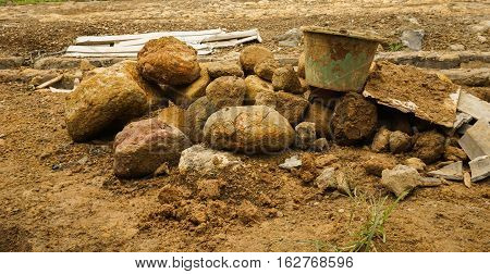 Digging activity for construction building photo taken in Bogor Indonesia java