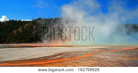 The Grand Prismatic Spring in the Midway Geyser Basin along the Firehole River in Yellowstone National Park in Wyoming
