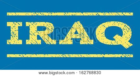 Iraq watermark stamp. Text tag between horizontal parallel lines with grunge design style. Rubber seal stamp with unclean texture. Vector yellow color ink imprint on a blue background.