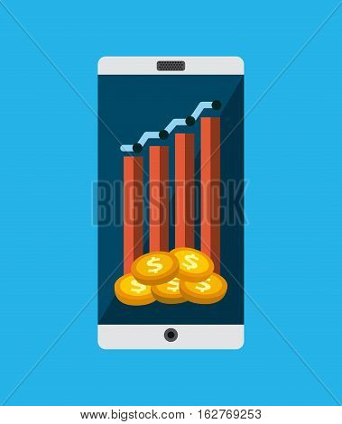 smartphone device with graphic charts and gold coins icons on screen over blue background. colorful design. vector illustration