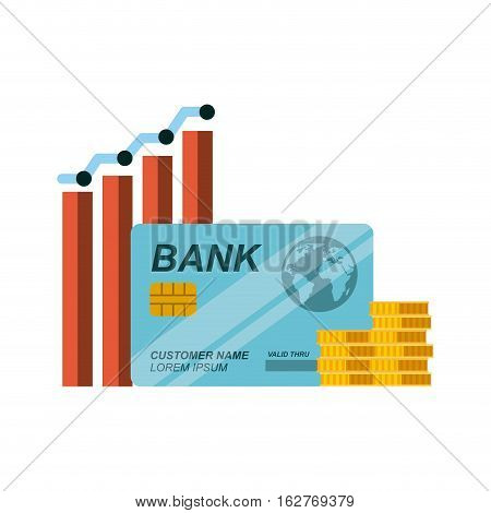 graphic chart with credit card and gold coins icon over white background. colorful design. vector illustration