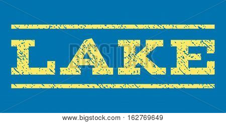Lake watermark stamp. Text caption between horizontal parallel lines with grunge design style. Rubber seal stamp with dust texture. Vector yellow color ink imprint on a blue background.