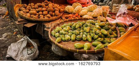 Potato and Chayote sells in one of traditional market in Bogor Indonesia java