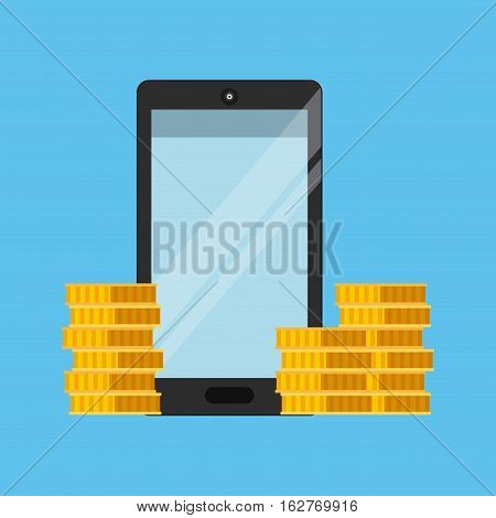 smartphone device and gold coins icon over blue background. colorful design. vector illustration