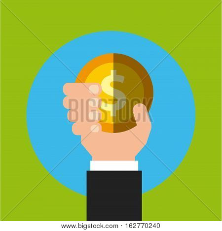 hand holding a gold coin icon over blue circle and green background. colorful design. vector illustration