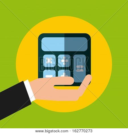 hand holding a calculator device icon over yellow circle and green background. colorful design. vector illustration