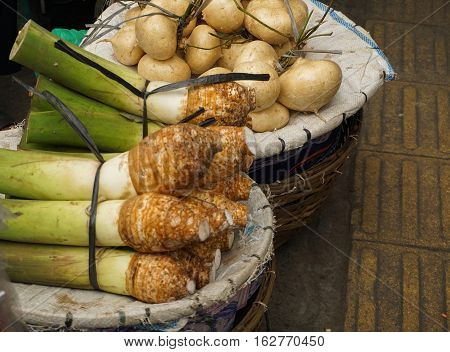White Taro and White Yam is one of popular food from Bogor photo taken in Bogor Indonesia java