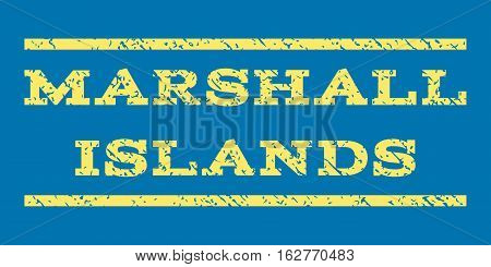 Marshall Islands watermark stamp. Text caption between horizontal parallel lines with grunge design style. Rubber seal stamp with dirty texture. Vector yellow color ink imprint on a blue background.
