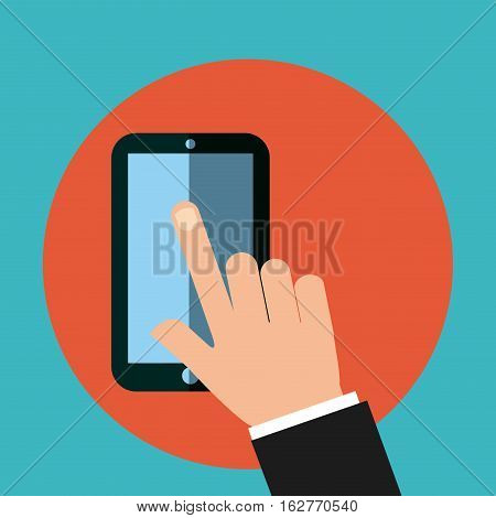 hand touching a screen of a smartphone device icon over red circle and blue background. colorful design. vector illustration