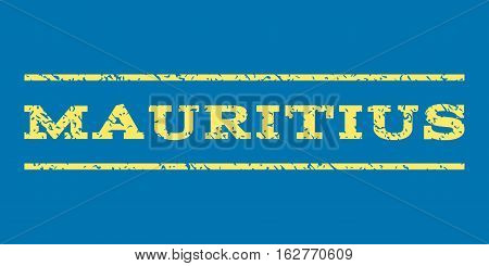 Mauritius watermark stamp. Text tag between horizontal parallel lines with grunge design style. Rubber seal stamp with unclean texture. Vector yellow color ink imprint on a blue background.