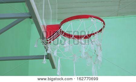 basketball hoop and billboard sport in the school gym