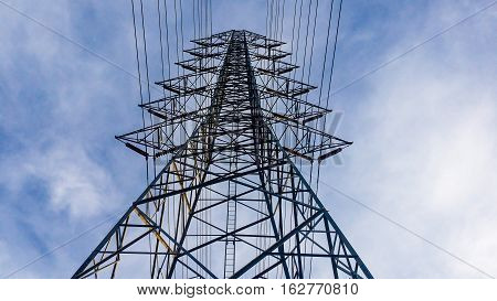The High Voltage Post. High-voltage Tower Sky Background