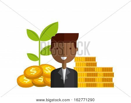 businessman smiling and moneygold coins over white  background. colorful design. vector illustration