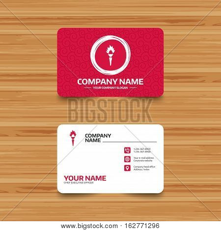 Business card template with texture. Torch flame sign icon. Fire flaming symbol. Phone, web and location icons. Visiting card  Vector