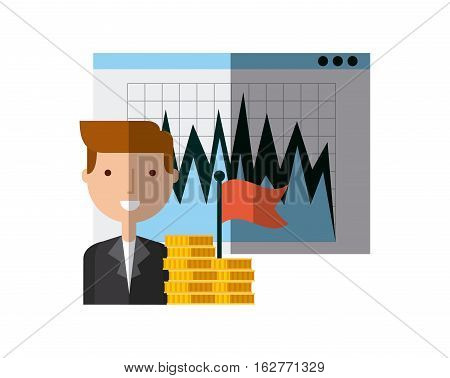 businessman smiling with graphic chart and gold coins over white background. colorful design. vector illustration