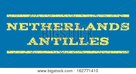 Netherlands Antilles watermark stamp. Text caption between horizontal parallel lines with grunge design style. Rubber seal stamp with scratched texture.