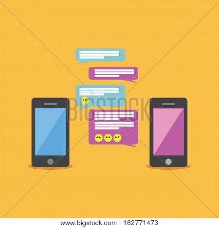 Mobile chat or conversation of people via mobile phones. Chatting concept illustration.