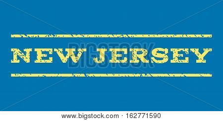 New Jersey watermark stamp. Text caption between horizontal parallel lines with grunge design style. Rubber seal stamp with scratched texture. Vector yellow color ink imprint on a blue background.