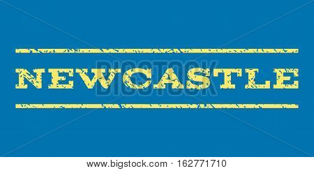 Newcastle watermark stamp. Text caption between horizontal parallel lines with grunge design style. Rubber seal stamp with dirty texture. Vector yellow color ink imprint on a blue background.