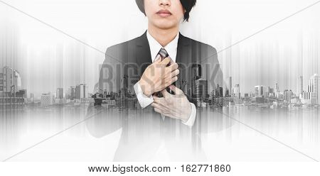 Double exposure Businessman with panoramic city technology background