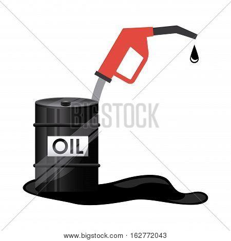 oil barrel and nozzle icon over white background. colorful design. vector illustration