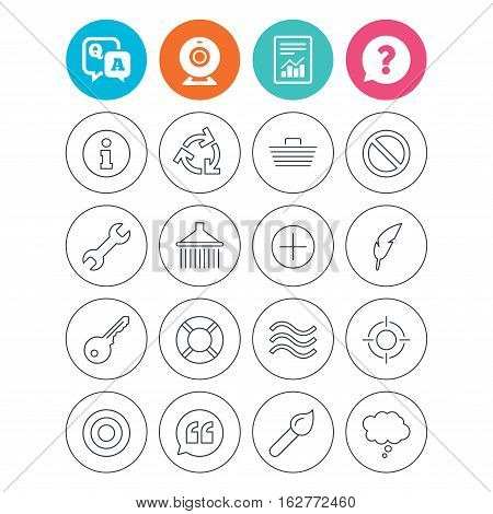 Universal icons. Information, shopping basket and shower. Repair tool, home key and brush. Comic speech bubble, target aim and quotes. Report document, question and answer icons. Web camera sign