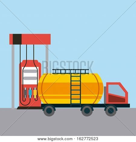 gas station pump and tanker truck vehicle icon over blue background. colorful design. vector illustration