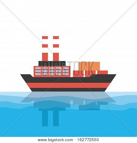 cargo ship icon. colorful design. vector illustration