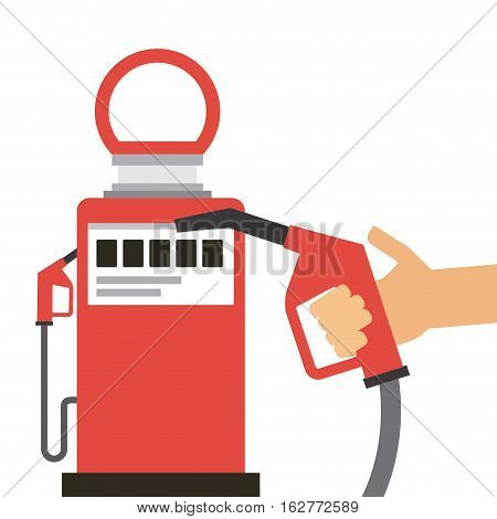 gas station pump and hand holding a nozzle icon over white background. colorful design. vector illustration