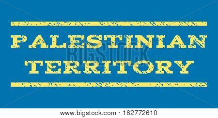 Palestinian Territory watermark stamp. Text caption between horizontal parallel lines with grunge design style. Rubber seal stamp with scratched texture.