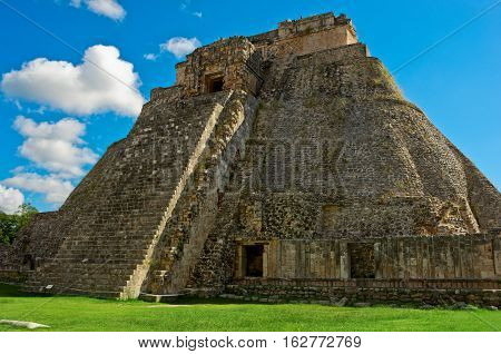 Pyramid Of The Magician In Uxmal, Ancient Maya City. Yucatan, Mexico