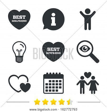 Valentine day love icons. Best girlfriend and boyfriend symbol. Couple lovers sign. Information, light bulb and calendar icons. Investigate magnifier. Vector