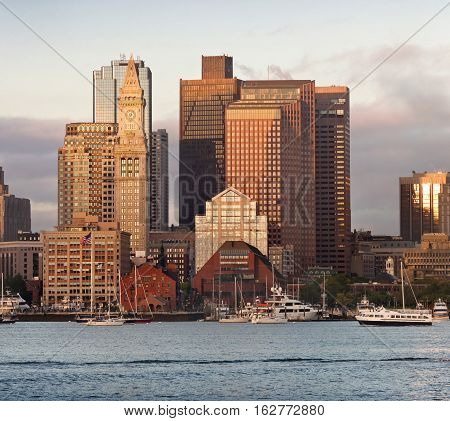 Boston MA USA - October 5 2016: View of Financial District and Harbor in Boston Massachusetts USA