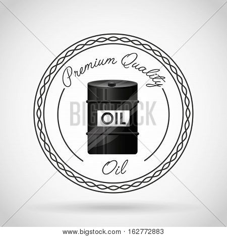 seal stamp with oil barrel icon over white background. colorful design. vector illustration