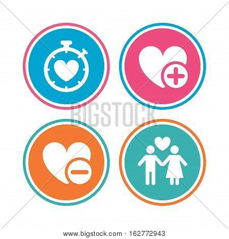 Valentine day love icons. Love heart timer symbol. Couple lovers sign. Add new love relationship. Colored circle buttons. Vector