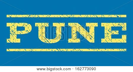Pune watermark stamp. Text tag between horizontal parallel lines with grunge design style. Rubber seal stamp with unclean texture. Vector yellow color ink imprint on a blue background.