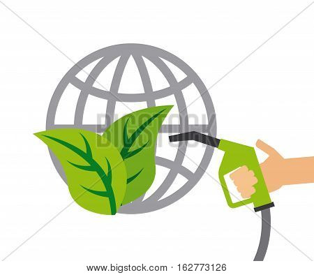 global sphere with leaves and hand holding a green nozzle icon over white background. colorful design. vector illustration
