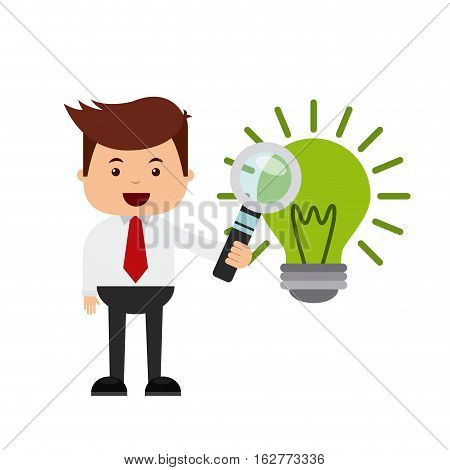 businessman holding a magnifiying glass and green bulb light icon over white background. colorful design. vector illustration