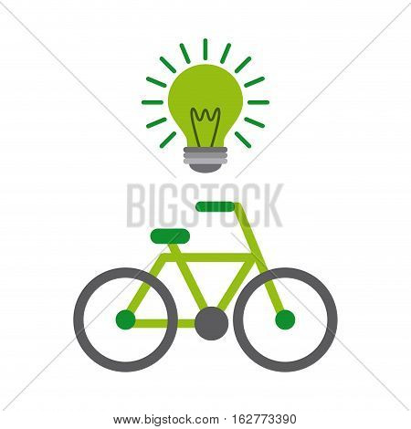 green bulb and bicycle vehicle icon over white background. colorful design. vector illustration