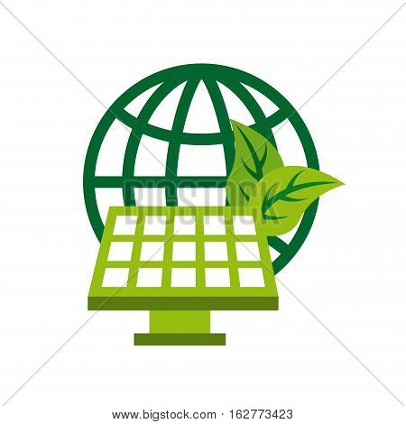 global sphere and solar panel icon over white background. colorful design. vector illustration