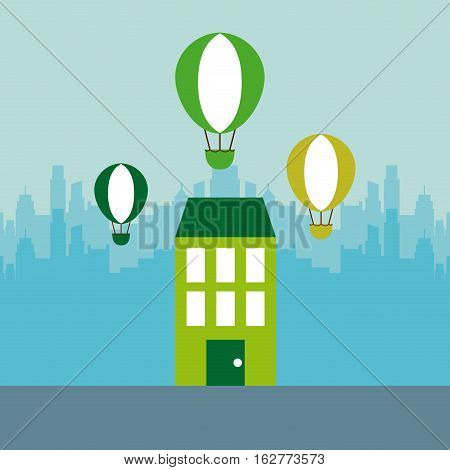 green house and air balloons icon. colorful design. vector illustration
