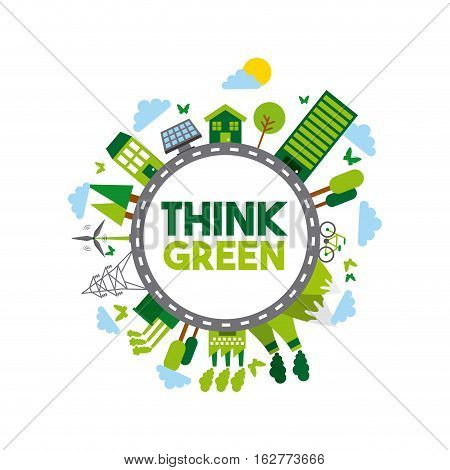 think green and ecology icons around circle shape over white background. colorful design. vector illustration
