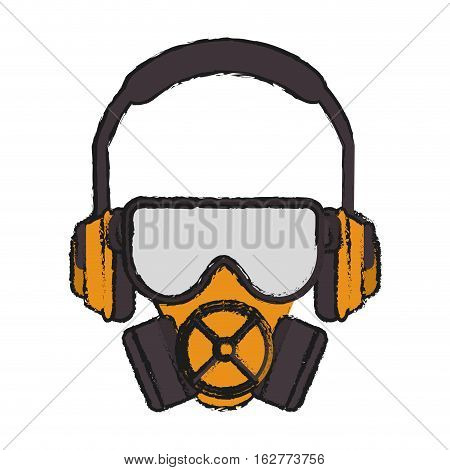 Mask headphone and glasses icon. Industrial security safety and protection theme. Isolated design. Vector illustration