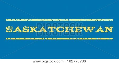 Saskatchewan watermark stamp. Text tag between horizontal parallel lines with grunge design style. Rubber seal stamp with dirty texture. Vector yellow color ink imprint on a blue background.