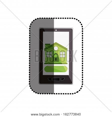 Padlock and house inside smartphone icon. Insurance security protection and safety theme. Isolated design. Vector illustration